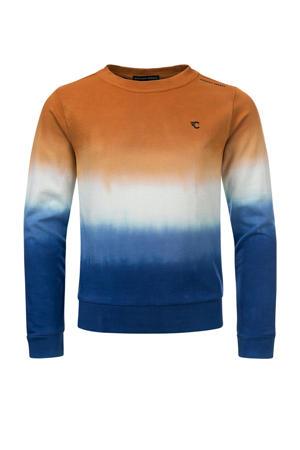 sweater Cas bruin/wit/blauw
