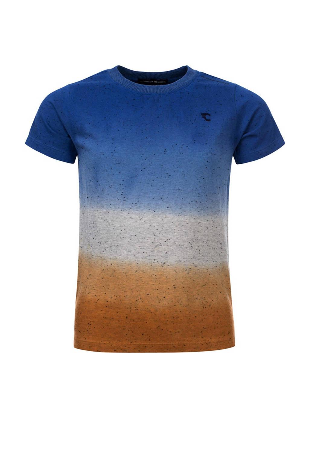 COMMON HEROES T-shirt Tim van biologisch katoen blauw/grijs/bruin, Blauw/grijs/bruin