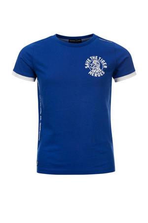 T-shirt Timber van biologisch katoen kobaltblauw/wit