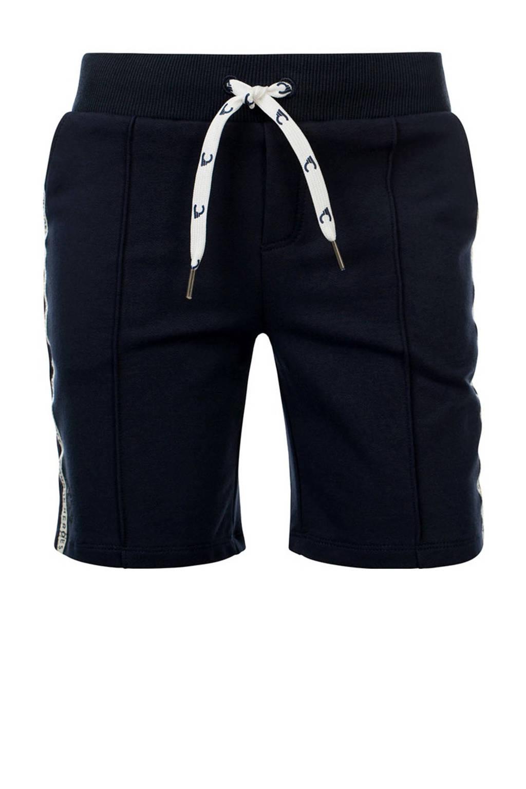 COMMON HEROES slim fit sweatshort Bo met zijstreep donkerblauw, Donkerblauw
