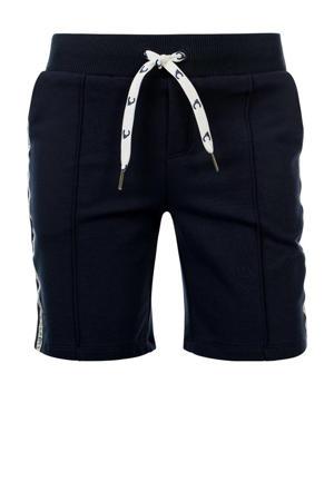 slim fit sweatshort Bo met zijstreep donkerblauw