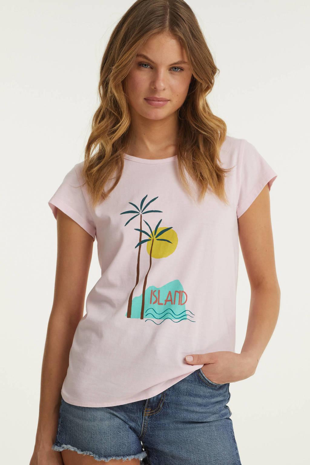 BEACHWAVE t-shirt met knoopdetail en printopdruk, Lila