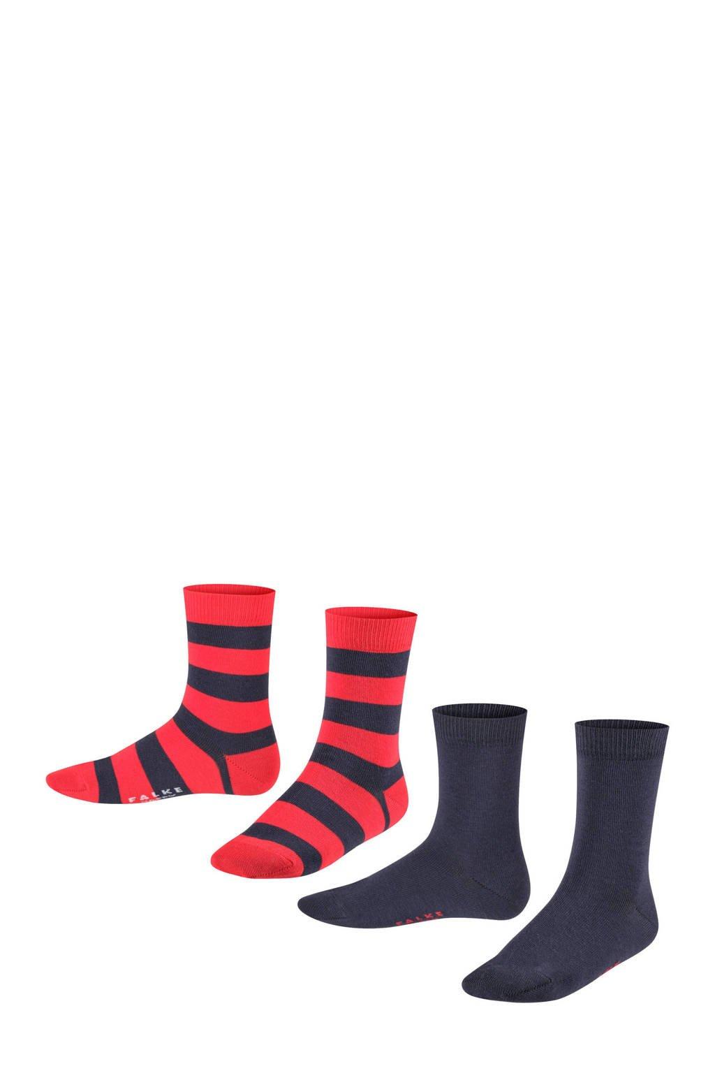 FALKE Happy Stripe sokken - set van 2 rood/donkerblauw (set van 2), Rood/donkerblauw