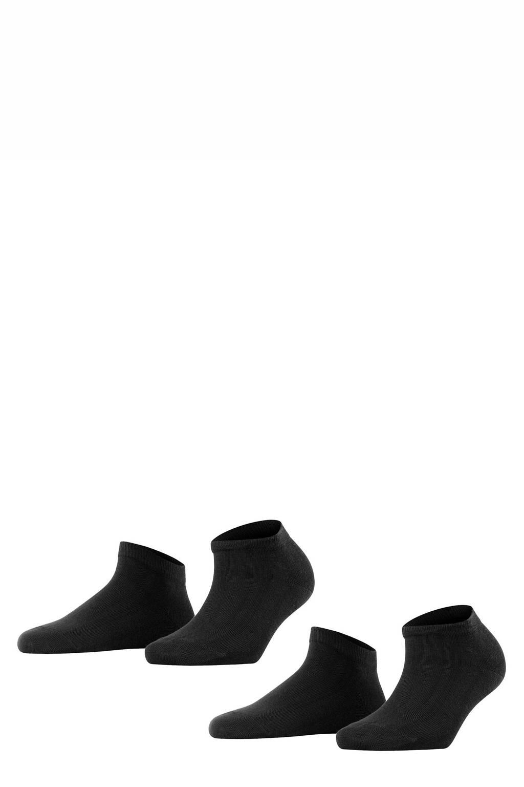 FALKE Happy DP sneakersokken - set van 2 zwart, Zwart