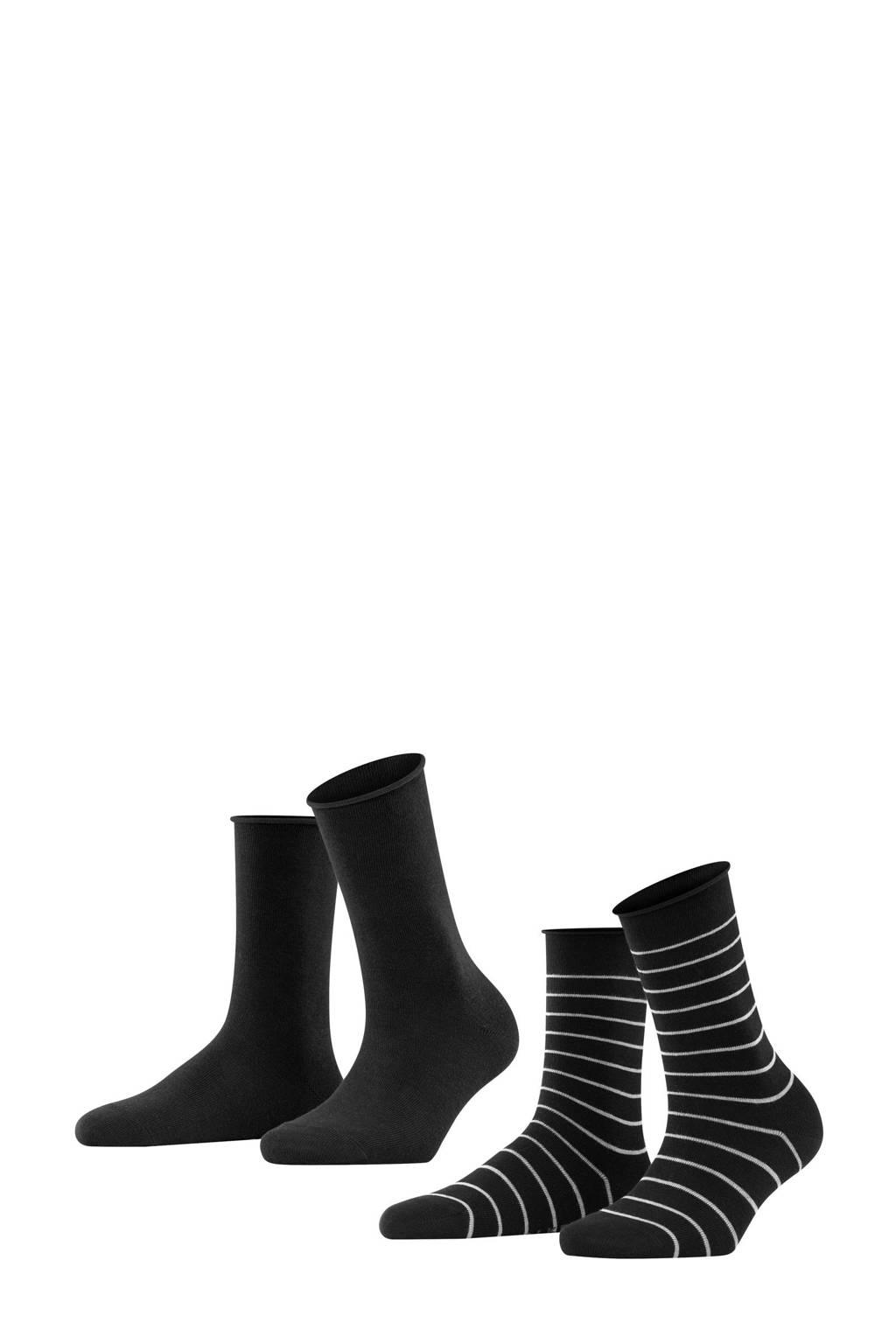 FALKE Happy Stripe sokken - set van 2 zwart, Zwart