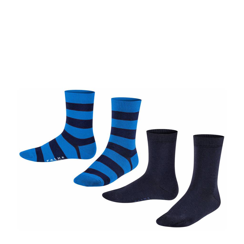 FALKE Happy Stripe sokken - set van 2 zwart/blauw, Zwart/blauw