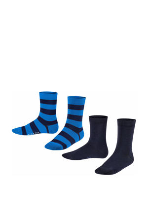 Happy Stripe sokken - set van 2 zwart/blauw