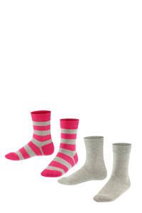 FALKE Happy Stripe sokken - set van 2 grijs/fuchsia, Grijs/fuchsia