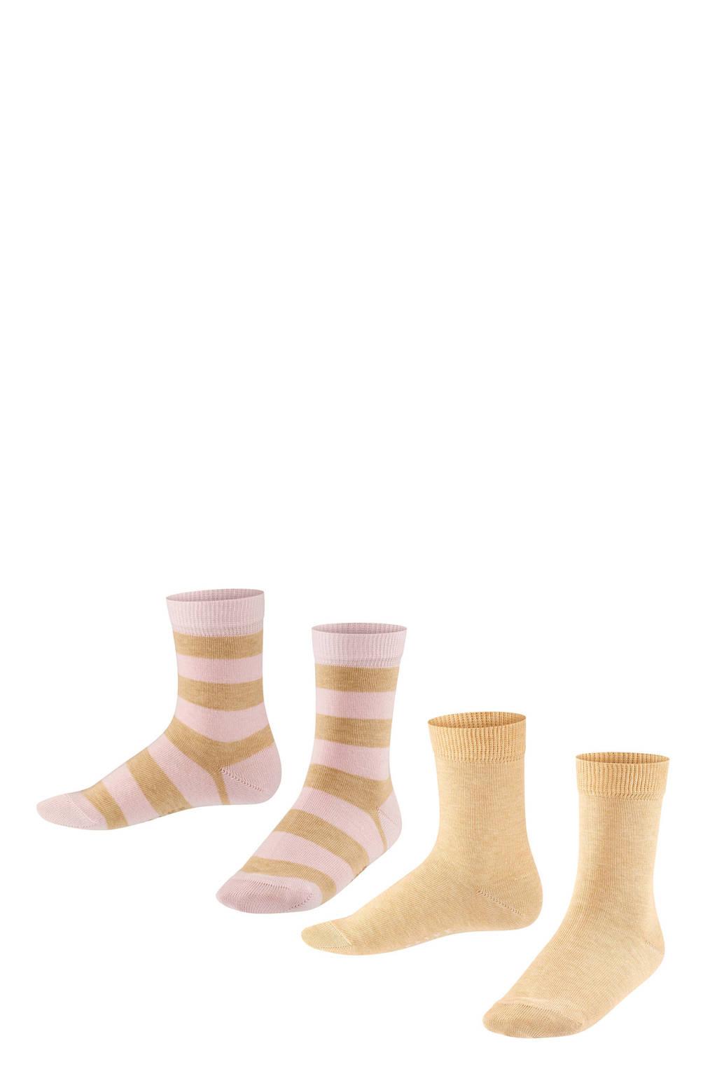 FALKE Happy Stripe sokken - set van 2 lichtroze/beige, Lichtroze/beige