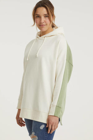 hoodie ecru/groen