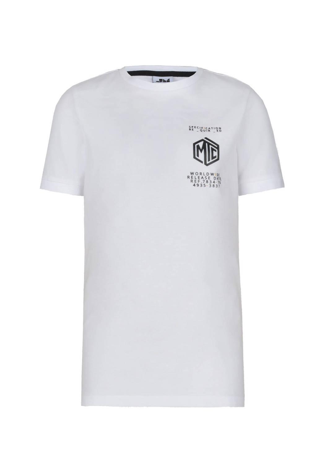 Jill & Mitch by Shoeby slim fit T-shirt Lars met printopdruk wit/zwart, Wit/zwart