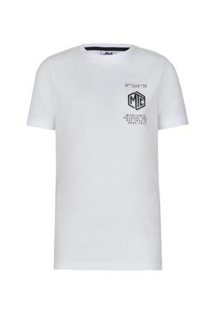 slim fit T-shirt Lars met printopdruk wit/zwart