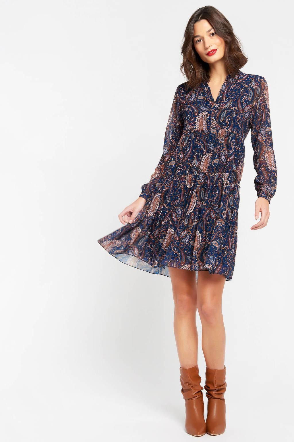LOLALIZA jurk met paisleyprint donkerblauw, Donkerblauw/rood