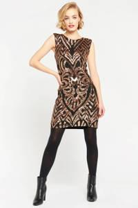 LOLALIZA jurk met all over print zwart, Zwart/brons
