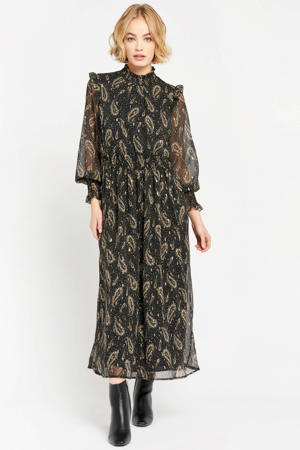 semi-transparante maxi jurk met all over print en glitters zwart/goud