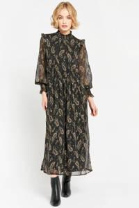 LOLALIZA semi-transparante maxi jurk met glitters en all over print zwart/goud, Zwart/goud