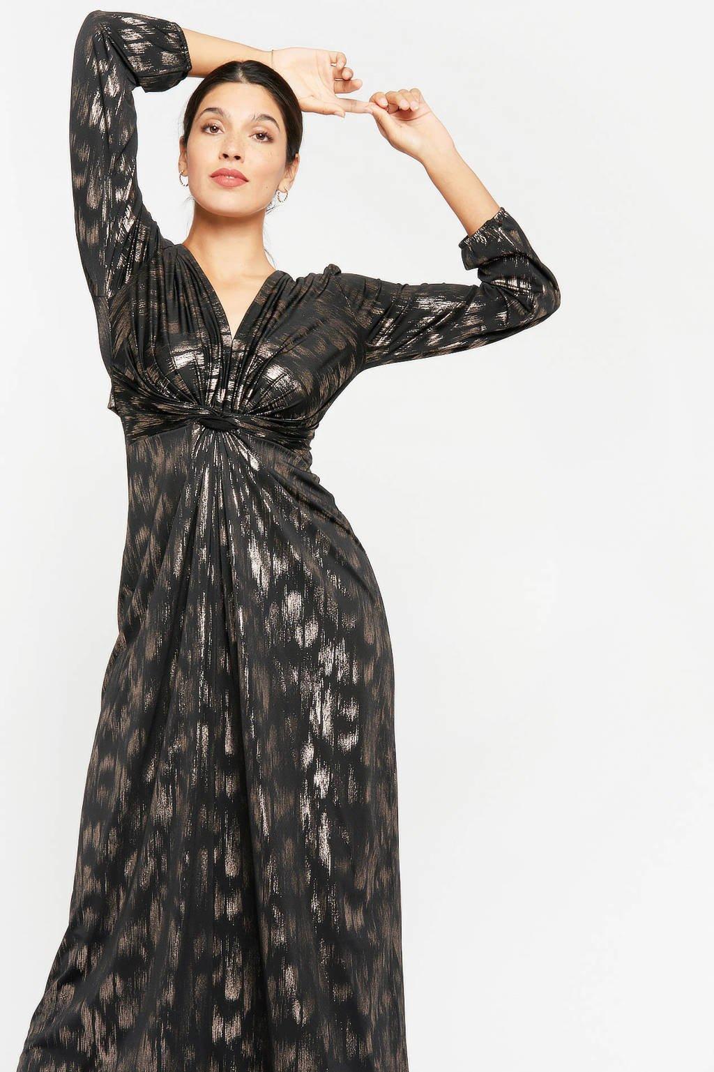 LOLALIZA maxi jurk met printopdruk en glitters zwart, Zwart