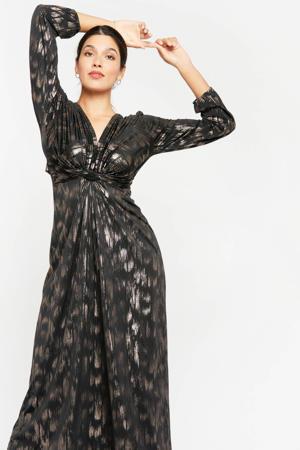 maxi jurk met printopdruk en glitters zwart