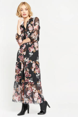 gebloemde semi-transparante maxi jurk zwart/roze