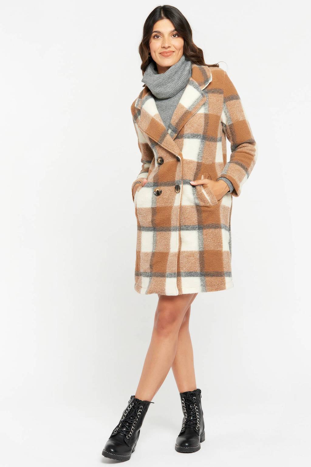 LOLALIZA geruite  coat camel beige, CAMEL BEIGE