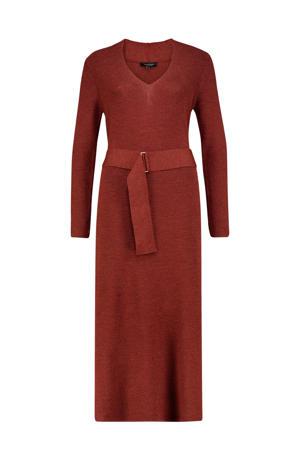 wollen maxi jurk met ceintuur bruin