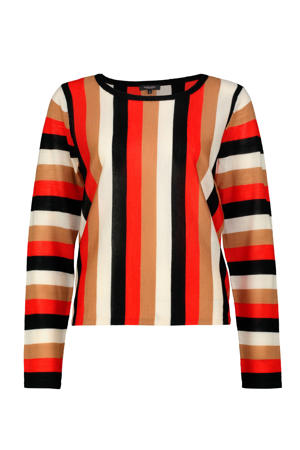 gestreepte trui met wol rood/zwart/bruin