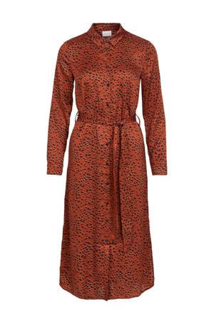 maxi blousejurk met all over print en ceintuur rood/zwart