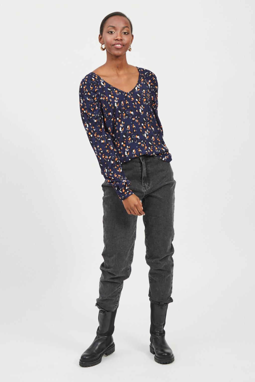 VILA blouse met all over print donkerblauw, Donkerblauw