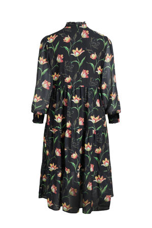 jurk OBJTULIPA  met all over print zwart