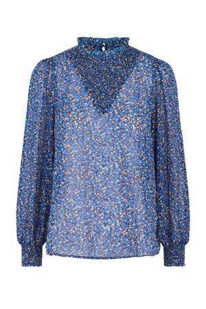 blouse PCTILLE met all over print blauw