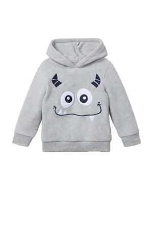 hoodie met printopdruk grijs/zwart/wit