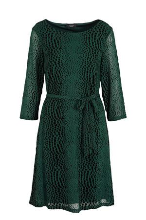 semi-transparante A-lijn jurk met all over print donkergroen/zwart