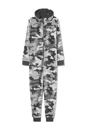 onesie met camouflage print antraciet/lichtgrijs