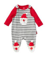 C&A Baby Club kerstboxpak met romper rood/grijs/ecru, Rood/grijs melange/ecru