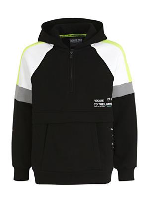 hoodie zwart/wit/geel
