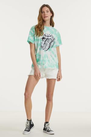 tie-dye T-shirt Rolling Stones Aaliyah van biologisch katoen lichtgroen
