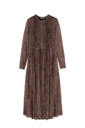 semi-transparante jurk Hazel met panterprint en plooien donkerbruin