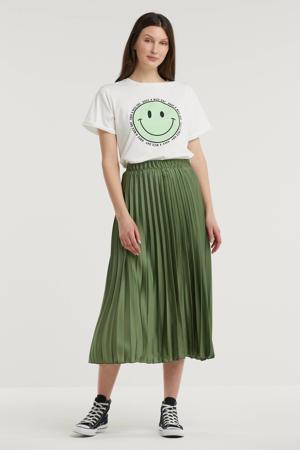 T-shirt Happy Face van biologisch katoen gebroken wit