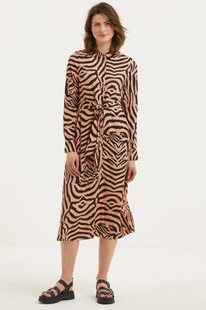 blousejurk El Tigre met dierenprint en ceintuur zand/ zwart