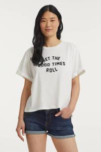 Catwalk Junkie T-shirt Roll van biologisch katoen gebroken wit, Gebroken wit