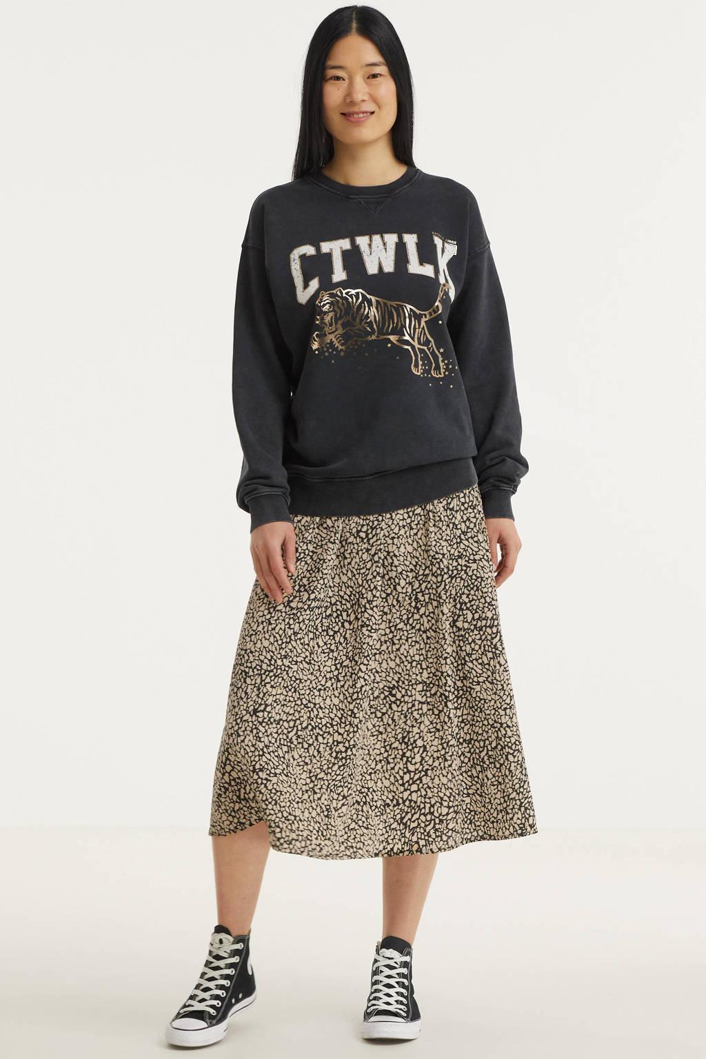 Catwalk Junkie sweater Jumping Tiger van biologisch katoen donkergrijs, Donkergrijs