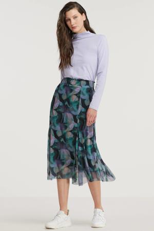 semi-transparante midi rok Vivian met all over print en mesh turquoise