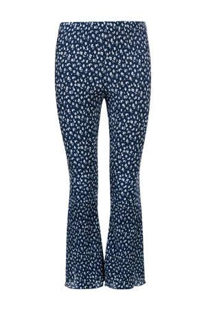 gebloemde flared broek donkerblauw/wit