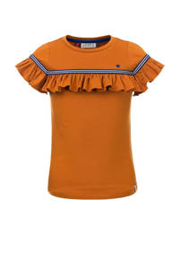LOOXS little T-shirt met ruches okergeel/blauw, Okergeel/blauw