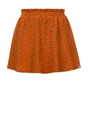 rok met plooien oranjebruin