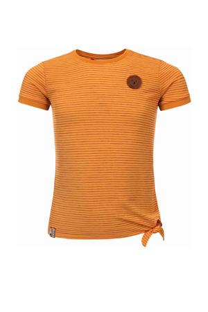 gestreept T-shirt mango geel/rood