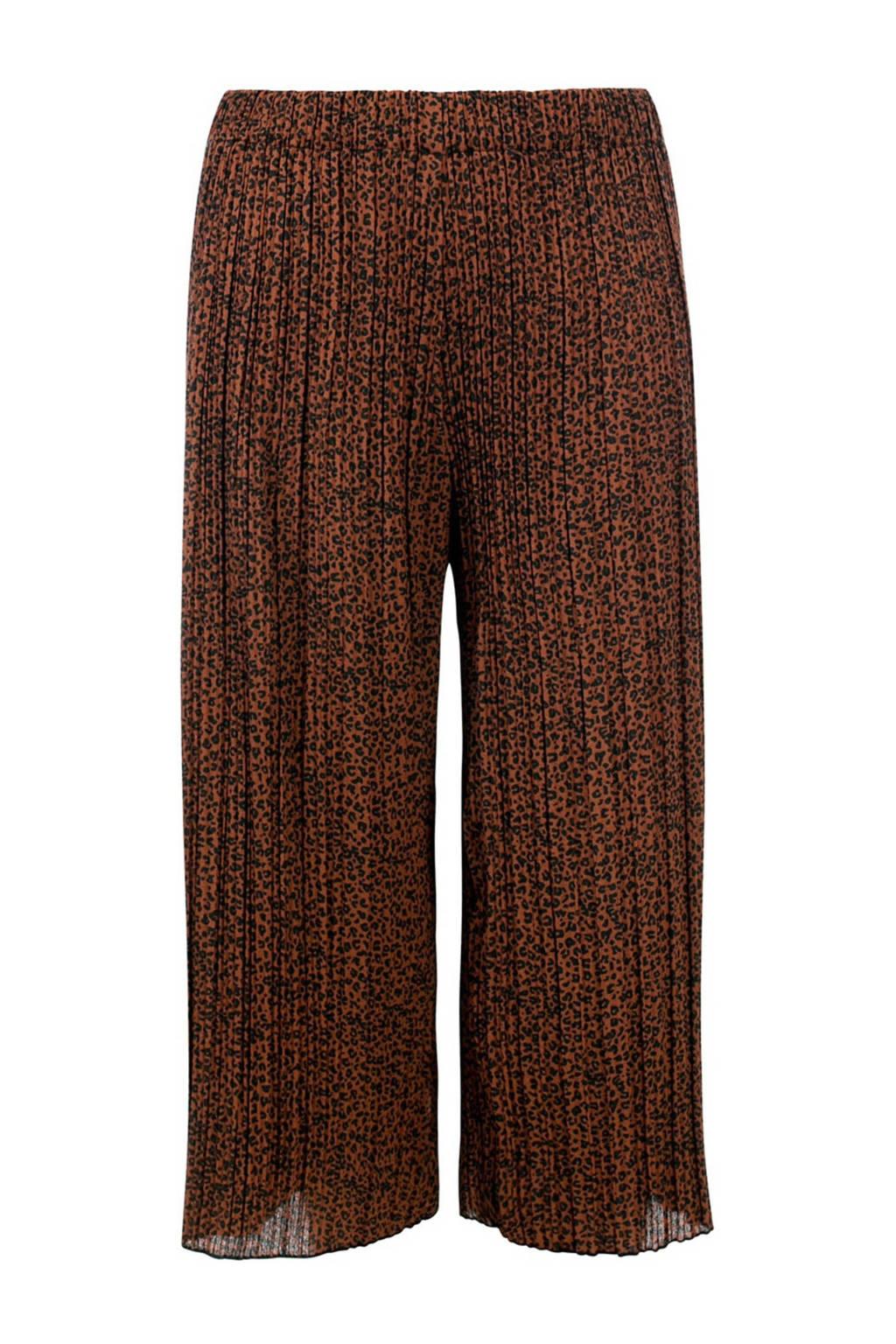 LOOXS little loose fit broek met panterprint en textuur bruin/zwart, Bruin/zwart