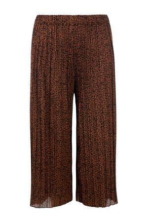 loose fit broek met panterprint en textuur bruin/zwart