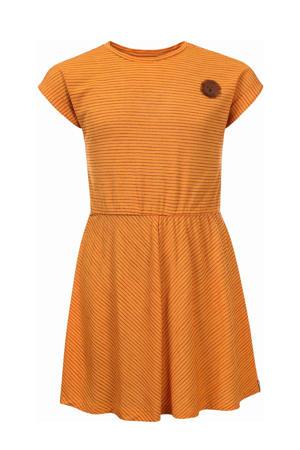 gestreepte jurk mango geel/rood