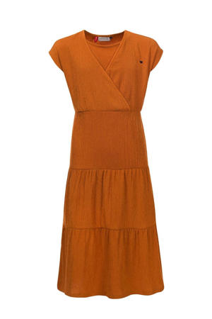 maxi jurk met volant okergeel